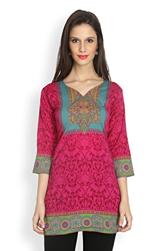Eternal Women's Printed American Crepe Short Kurta Kurti Tunic Top(TDFA_104_RANI_XXL, Dark Pink)  available at amazon for Rs.399