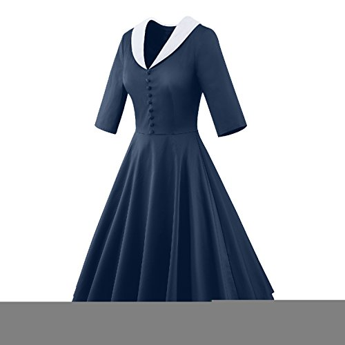 LUOUSE 'Iris' 50er Polka Punkt Ergatterte Vintage Kleid 2Blau