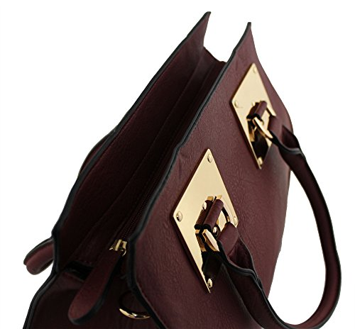 Kukubird Large Faux Leather Designer Handbag With Gold Metal Plate BLACK