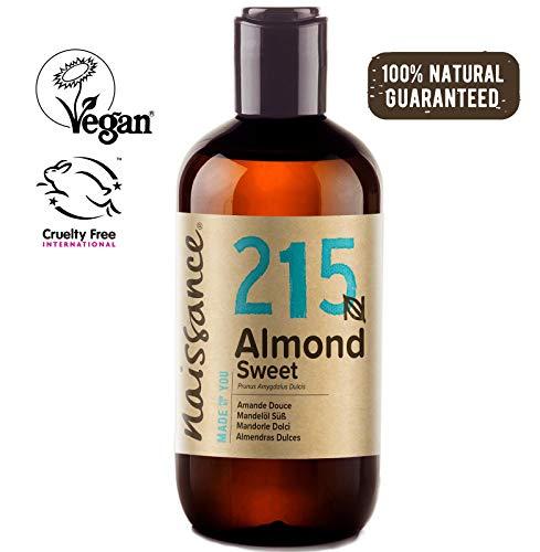 Naissance natürliches Mandelöl süß (Nr. 215) 250ml - Vegan, gentechnikfrei - Ideal zur Haar- und Körperpflege, für Aromatherapie und als Basisöl für Massageöle -