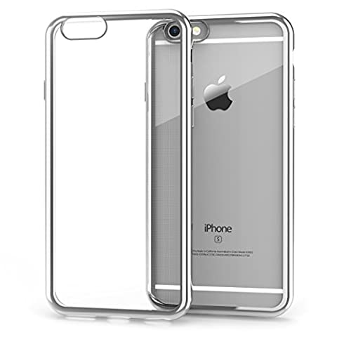 iPhone 6 Case,iPhone 6s Case,Splaks [Moonlight Silver] Extra Shock-Absorb Clear back panel+Silver Metal Plating Frame,Extreme Lightweight Soft Flexible Silicone Rubber Anti-Scratch Protective Case For iPhone 6/6s-Moonlight Silver