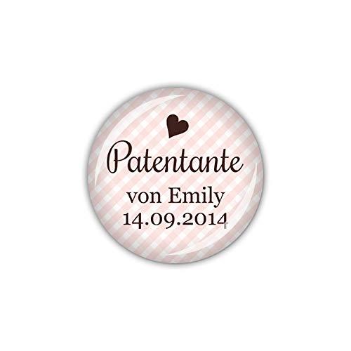lijelove® Button 25mm Ø Vichy rosa, Patentante personalisiert (Art. 04-01UG)