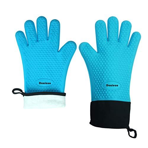 Double Elite Hitzebeständig Ofenhandschuhe - Silikon Grillhandschuhe BBQ Handschuhe Zum Kochen, Backen, Grillen, Barbecue, Blau, 2er Set (Elite-backofen)