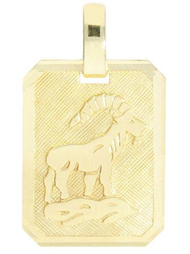 MyGold Sternzeichen Anhänger (Ohne Kette) Steinbock Gelbgold 333 Gold (8 Karat) Matt Glanz 21mm x 12mm Tierkreiszeichen Horoskop Goldanhänger Kettenanhänger Geschenk Gaudino A-04400-G303-Ste