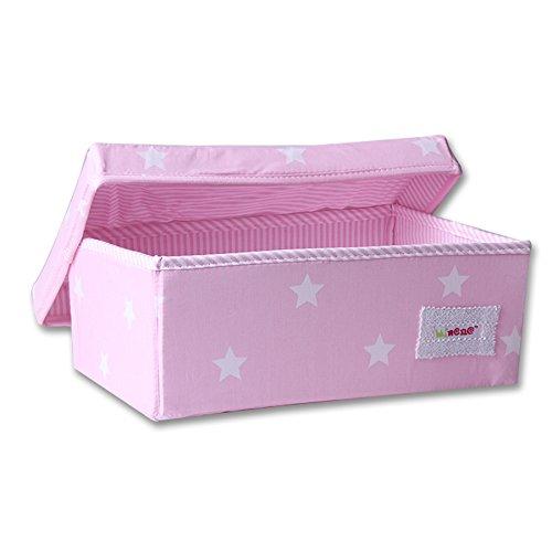 Minene Boîte de rangement pliable avec doublure en tissu Organiseur de papeterie avec fleurs (32 x 21 x 12 cm, petit, motif étoile, rose)