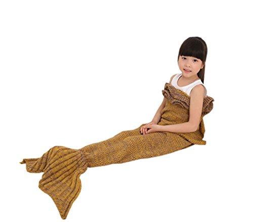 (acvip Girl 's Knit Little Mermaid Fancy Neuheit Party Tube Sleep Überwurf Decke, Polyester-Mischgewebe, ingwer, 140*70cm)