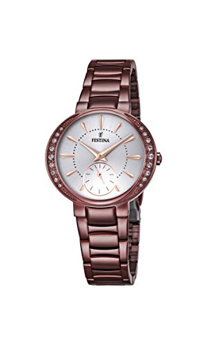 Festina Mademoiselle Women's Quartz Watch with Silver Dial Analogue Display and Brown Stainless Steel Plated Bracelet F16912/1