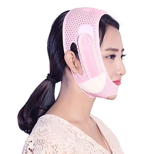 WYXSLBD Gesichtsmaske Dünne Gesichtsaufkleber-Artefaktschlafbinde, Die Das Straffende Erschlaffte Doppelkinn-Massetermaske Des Zug-V-Gesichtes Anhebt Gesichtsmaske (Color : Pink)