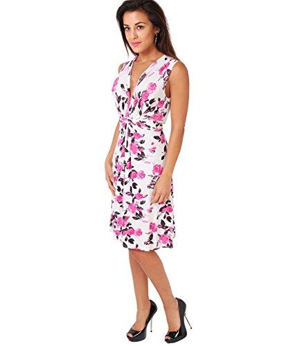 KRISP® Femmes Robe Portefeuille Midi Noeud Torsadé Col V Casual Rose (6252)
