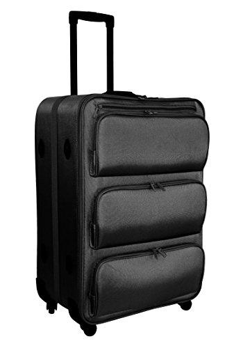 XL Koffer 60L mit versenkbarem Regalsystem Trolley Reisekoffer Weichgepäck 71cm (Schwarz)