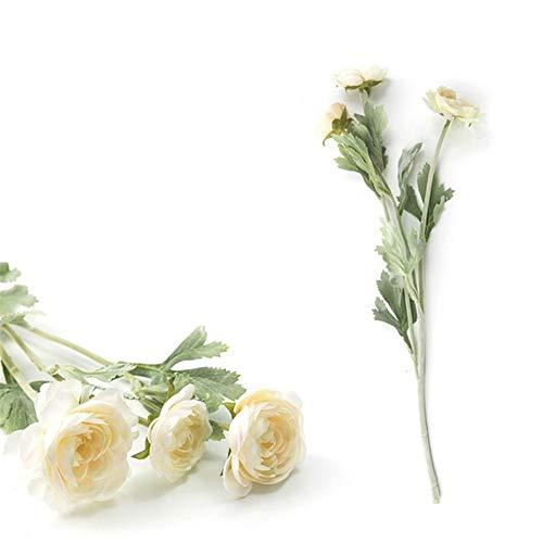 Luosanhe Schöne britische edle königliche Familie künstliche Ranunculus asiaticus seidenblumen 3 köpfe Tau Lotus Dekoration gefälschte Blume a6840 (Color : Milk White Flower)