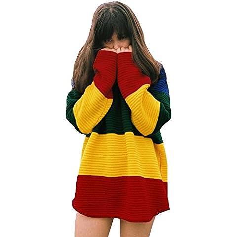 Contrast Rainbow Color Block Pullover Sweater JumPara Túnica Verano Vestido Top Amarillo