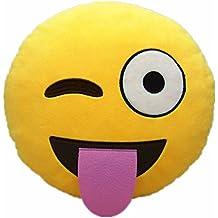 ULTNICE Peluche de 35cm Smiley almohada Sof emoticonos lindo cojín almohada muñeca juguete lengua