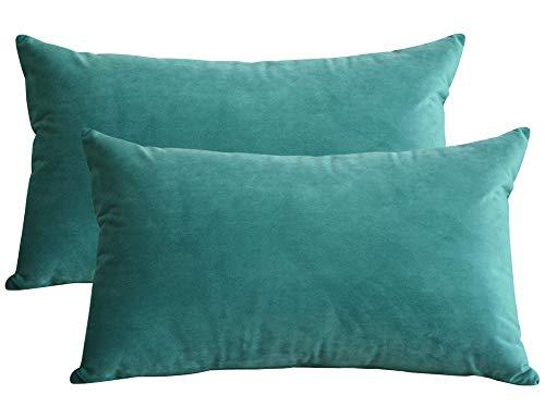 Lutanky confezione da 2 elegante velluto cuscino casi morbido cuscino solido rettangolo cuscino decorativo copre per divano letto auto 12