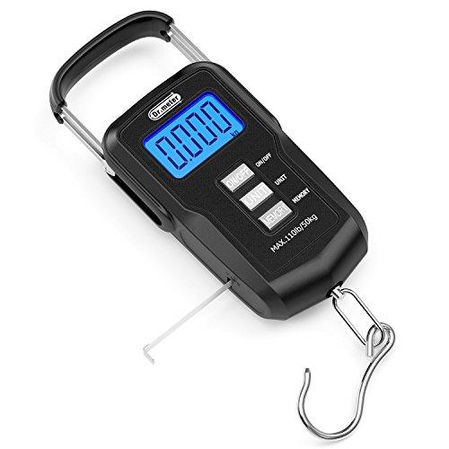 Dr.meter Verbesserte FS01 Fishing Scale, 110lb/50kg Digitale Hängewaage mit hintergrundbeleuchtetem LCD Display, Maßband und 2 AAA Batterien