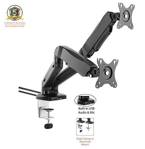 Tilt-swivel Stand (ACGU32D Gas Powered Dual Monitor Arm Stand w/vesa Bracket & Desk Mount clamp & Grommet for Two 15