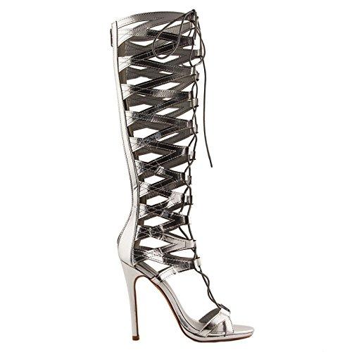 Toocool - Stivali donna gladiatore schiava tacchi alti stringati sexy nuovi lacci 632-2 Argento