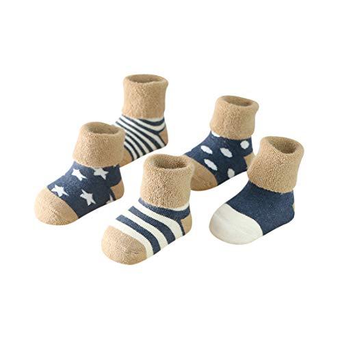 DEBAIJIA Baby Kinder Socken 5 in 1 Set Jugendliche Stricksocke Verdickender Herbst und Winter Jungen Mädchen Baumwolle Bunt Elastisch Weich Marine - S