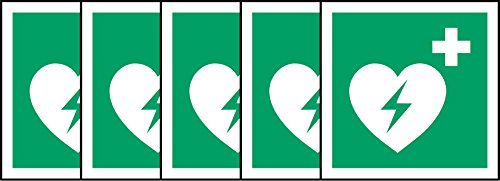 ISO Hinweisschild International Automatiesierter Externer Defibrillator Herz Symbol-Sticker Selbstklebend 200mm x 200mm x 200mm (5Stück Aufkleber) - Herz-defibrillator