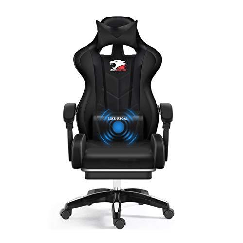 Stil-massage-stuhl (HYKISS Ergonomischer Stuhl Liege Stil Rennspiel, mit Massage-Lendenwirbelstütze, kann Höhe frei Bürostuhl angepasst Werden - Senior PU Lederstühle (schwarz und rot) (Color : Black))