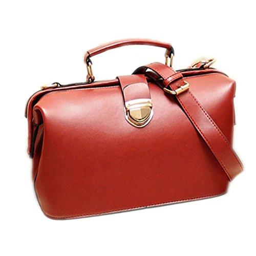 Leder-handtasche Tote-schulter-handtasche (DELEY Damen Retro Europa Style Handtasche Totes Schulter Doktor Taschen Rot)
