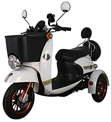 White 3 Wheeled Retro Style Electric Mobility Scooter with Front Basket 500W 60V100ah - GreenPower