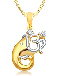 Vk Jewels Om Vakratund Gold And Rhodium Plated Alloy God Pendant For Men & Women Made With Cubic Zirconia
