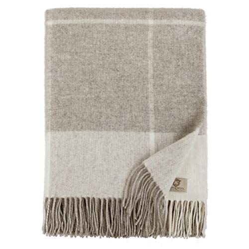 Linen & Cotton Plaid de A Carreaux Olivia - 100% Laine Merinos, Beige/Naturel (140 x 200cm) Couverture Chauffante/Jeté de Canapé/Couvre Lit Polaire/Blanket pour Sofa Fauteuil/Idée Cadeau