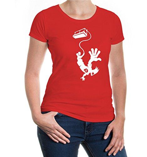 buXsbaum® Girlie T-Shirt Bungeejumping Comicfigur Red-White