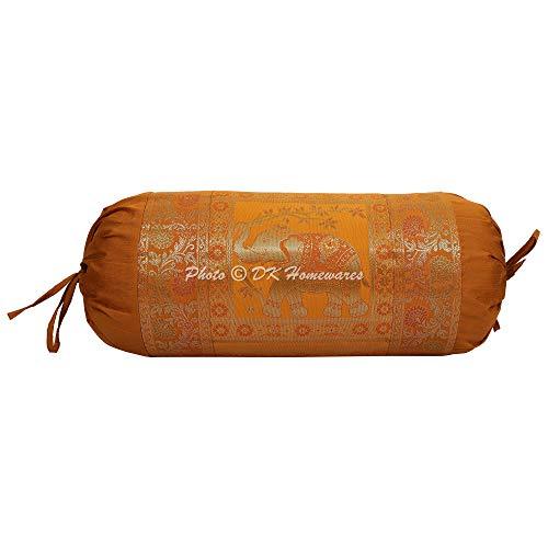 DK Homewares Polydupion Silk Banarasi Elephant Floral Sofa Bolster Cushion Cover Brown Gold 30 x 15 inch (76x38 cm) Brocade Jacquard Decorative Traditional Cylindrical Massand Pillow Cover | (1 Pc)