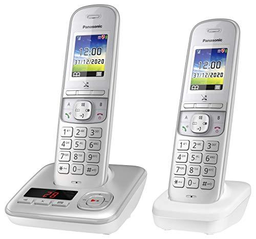 Panasonic Schnurlostelefon KX-TGH722GG mit Anrufbeantworter und zusätzlichem Mobilteil, Babyphone und Eco Plus Modus