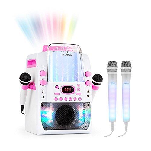 auna Kara Liquida BT und Dazzl Mic Set • Karaoke-Anlage • Karaoke-System • Karaoke-Set • Multicolor-LED-Lichteffekt mit Wasserfontäne • MP3 • USB • Bluetooth • Echo-Effekt • A.V.C-Funktion • pink