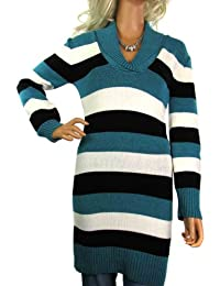 Ladies Shawl Neck Long Striped Jumper Dress - Women's One Size to Fit Size 12 14 16