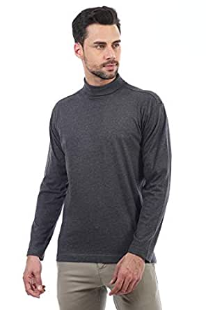 Buy ALX NEWYORK Cotton High Neck T Shirt for Men Dark Grey