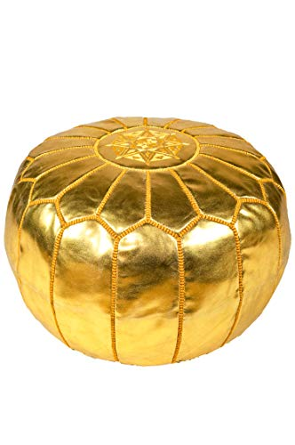 Orientalischer runder Pouf aus Leder ø 50cm Rund 30cm Hoch inklusive Füllung | Marokkanisches Sitzkissen Sitzpouf Kissen Iskandar | Marokkanischer Hocker