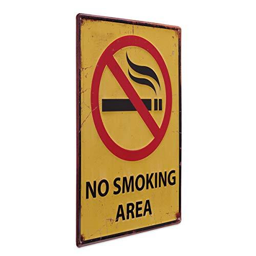 PHOTOLINI Blechschild No Smoking 30x40 cm Verbotsschild Rauchen Verboten Metallschild