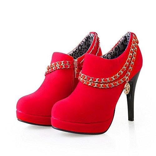 AllhqFashion Damen Stiletto Rein Reißverschluss Rund Zehe Pumps Schuhe Rot
