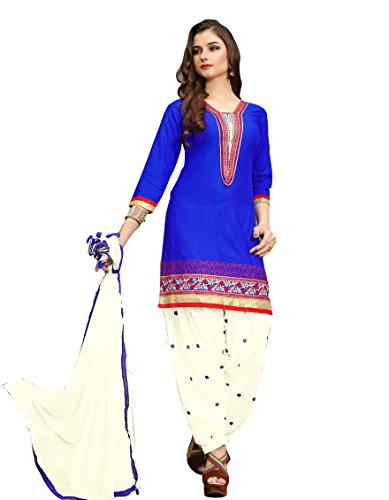Aadhya Creartion Embroidred Blue Colour Cambric Cotton Regular and Party wear Punjabi...