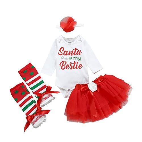 i-uend Kleinkind Baby Kinder Mädchen Weihnachten Strampler Tops Tutu Kleid Haarband Set