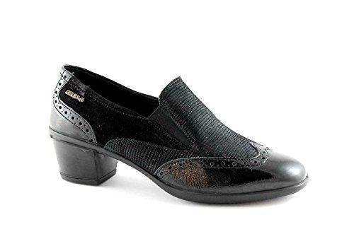 ENVAL SOFT 69150 nero scarpe donna mocassini tacco puntale vernice ricamo 36