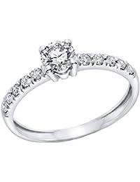 Klassischer 18 Karat (750) Weißgold Solitär Verlobung Diamant Damenring Brilliantschliff 1/2 Karat