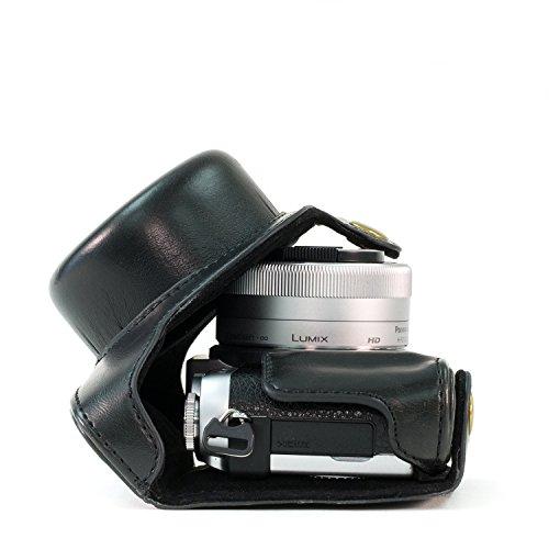 """MegaGear """"Ever Ready"""" Funda protectora de cuero de la cámara, bolso para Panasonic Lumix DMC-GX850, GX800, DMC-GF9, DMC-GF8, DMC-GF7 con 12-32mm Lente (Negro)"""