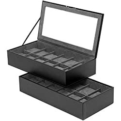 Wolf Stackable Watch Trays 12 plus 12 stores up to 24 watches in Black