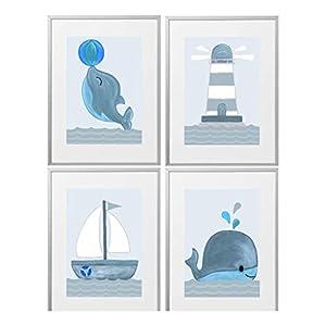 Kinderzimmer Bilder Set deko maritim Kinderzimmer Deko Jungen Kinderbilder Wal, Delfin, Boot, Leuchtturm Babyzimmerbilder