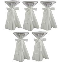 Sensalux, 5 Stehtischüberwürfe / die preisgünstige Alternative zur Husse, (nicht genäht) abwischbar - (Farbe nach Wahl), Tischdurchmesser 60-70 cm, Überwurf weiß Schleifenband weiß