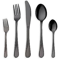 HOMQUEN Juego de cubiertos de acero inoxidable de 30 piezas, juego de cubiertos negros, cuchillos, cucharas, cucharas, set de 6 personas (negro, 6 juegos)