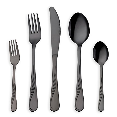 elstahl Besteck Set, schwarz Besteck Set, Messer Gabeln Löffel Set für 6 Personen (schwarz, 6 Sets) (Löffel, Messer Und Gabeln)