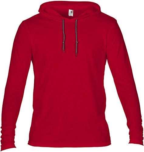 Amboss Erwachsene Fashion Basic ungefüttert Kapuze Kordelzug lang Saum Sleeve Hood Tee Gr. xl,  - Red-Dark Grey (Amboss Print T-shirt)