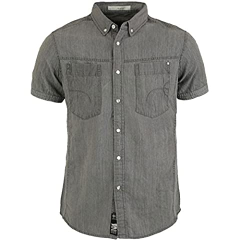 Men's Crosshatch Chest Pockets Denim Designer Shirt Short Sleeve Classic Top Size S Grey