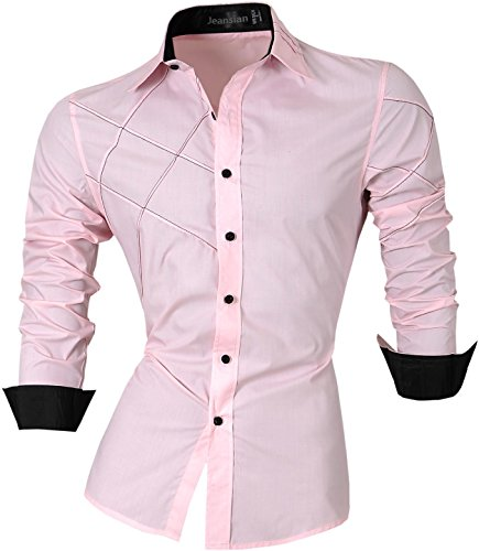 jeansian Homme Chemises Casual Shirt Tops Mode Men Slim Fit 2028 pink